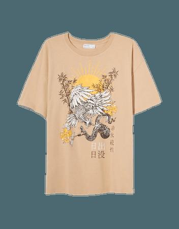 T-shirt with print - Tees and tops - Woman   Bershka