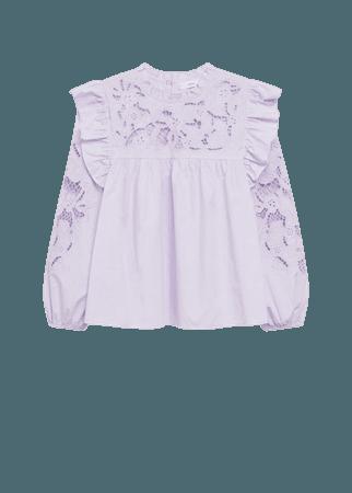 Lace panel cotton blouse - Women | Mango USA