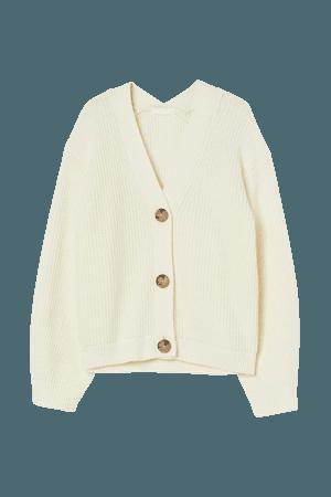 Rib-knit Cardigan - Cream - Ladies | H&M US