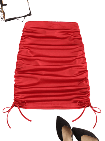 [29% OFF] 2020 Cinched Tie Sheeny Bodycon Skirt In RED | ZAFUL