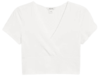 Cropped V-neck t-shirt - White - T-shirts - Monki WW