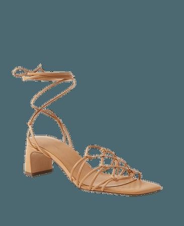 Jasmine Knotted Strappy Kitten Heel Sandals | Ann Taylor