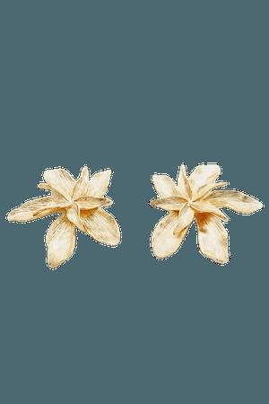Gold Plated Flower Earrings | Karen Millen