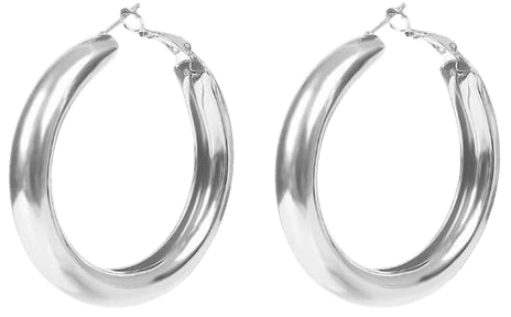Jewelry | Big Round Silver Hoop Earrings | Poshmark