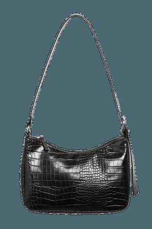Faux croc hand bag - Black - Bags - Monki WW