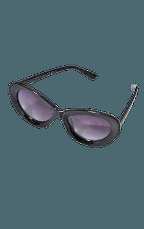 Black Rounded Edge Cat Eye Sunglasses   PrettyLittleThing USA