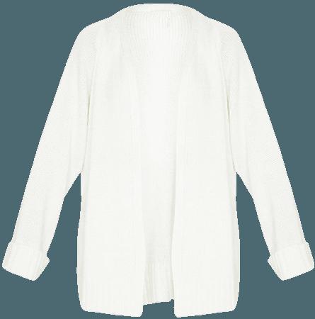 Cream Fluffy Knit Cardigan   Knitwear   PrettyLittleThing USA white