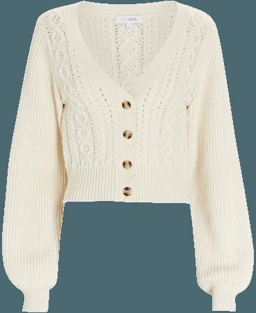 INTERMIX Private Label Ramon Cable Knit V-Neck Cardigan | INTERMIX®