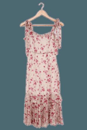 Taupe Floral Dress - Chiffon Midi Dress - Ruffled Midi Dress - Lulus
