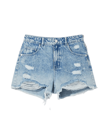 Ripped ombré denim shorts - Denim - Woman | Bershka