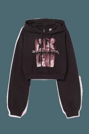 Crop Hoodie - Black/Blackpink - Ladies   H&M US