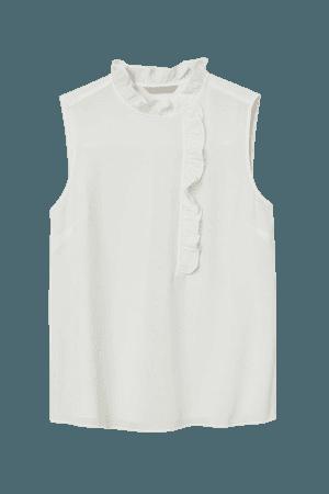Sleeveless Ruffled Blouse - White