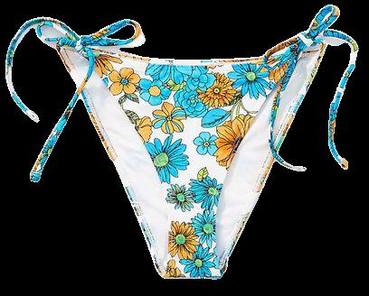 Floral Print String Bikini Bottoms