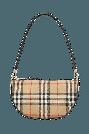 Checked Canvas Shoulder Bag - Beige
