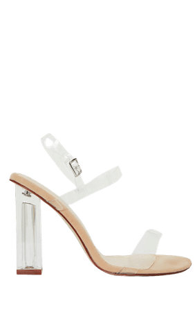 Clear Block Heel Strappy Sandal   Shoes   PrettyLittleThing