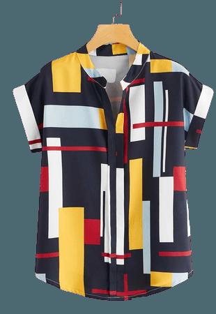 Color-block Curved Hem Blouse | SHEIN USA