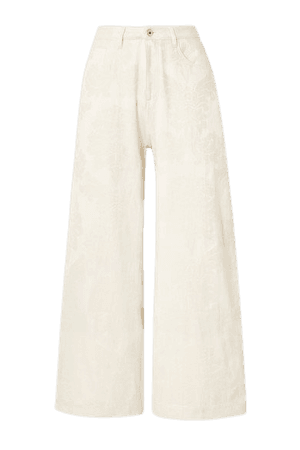 Recycled Polyester And Organic Cotton-blend Brocade Boyfriend Pants - Beige