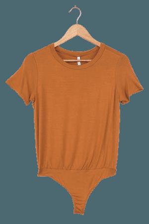 Cute Rust Brown T-Shirt - T-Shirt Bodysuit - Tee Bodysuit - Lulus