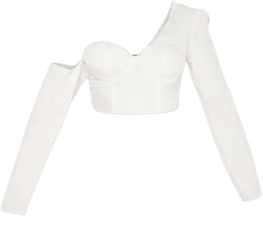White One Shoulder Cup Detail Crop Shirt | PrettyLittleThing USA