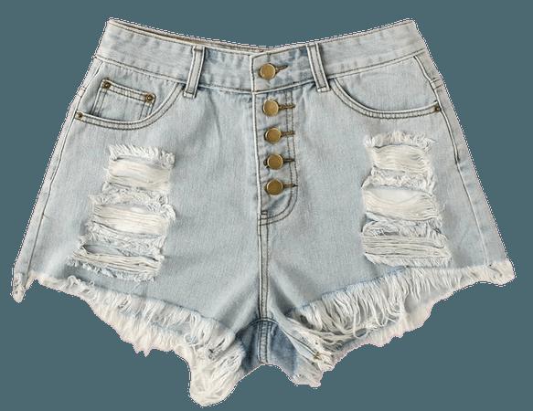 Raw Hem Ripped Denim Shorts | SHEIN USA