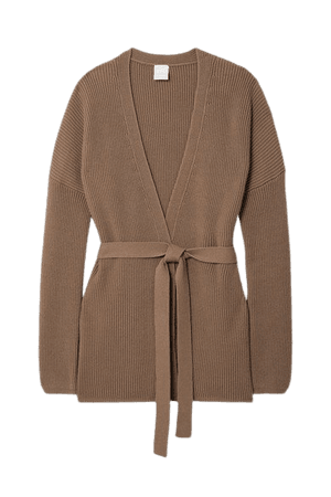 Leisure Belted Ribbed Cotton-blend Cardigan - Beige
