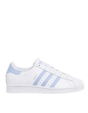 adidas Originals Superstar sneakers in white and blue | ASOS