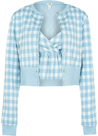 Blue gingham cardigan cami set | River Island