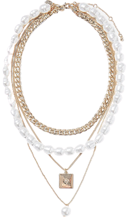 Layered Pearl & Charm Necklace | Express