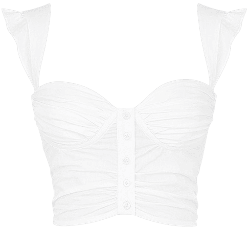 'Edition' White Cropped Bustier Top - Mistress Rock