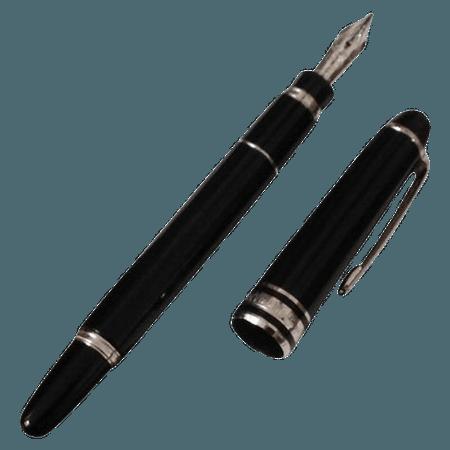 black fountain pen silver png filler