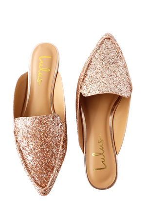Chic Rose Gold Glitter Loafer Slides - Slip-On Loafers - Flats - Lulus