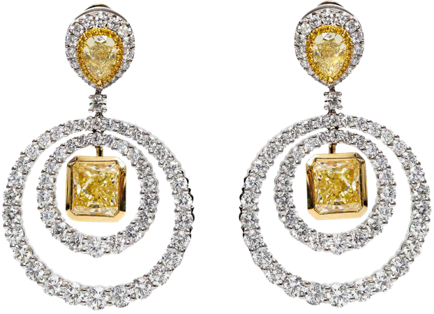 GIA Square Pear 19.38 Carat Yellow White Platinum Diamond Drop Circle Earrings For Sale at 1stDibs
