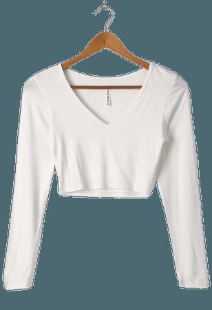 Ivory Top - Long Sleeve Top - White Crop Top - Women's Tops - Lulus