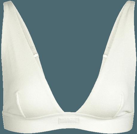 Cotton Plunge Bralette - Bone   SKIMS