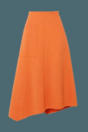 Asymmetric Melange Ribbed-knit Midi Skirt - Orange