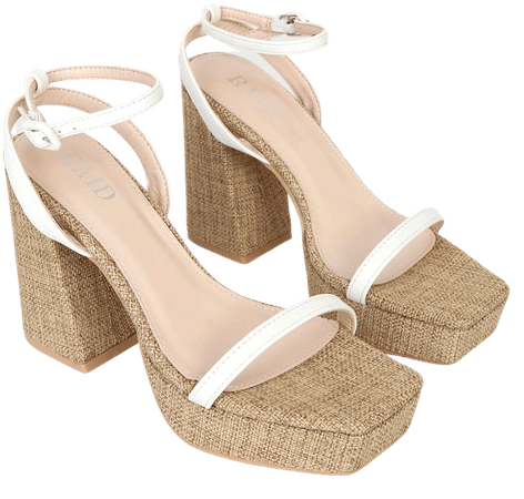 RAID Rosemary-LL White - Woven Platform Heels - High Heel Sandals - Lulus