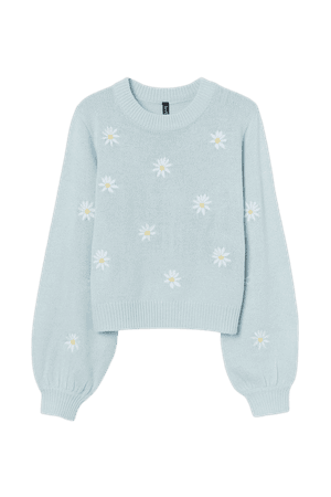 Embroidered-detail Sweater - Light blue/flowers - Ladies | H&M US