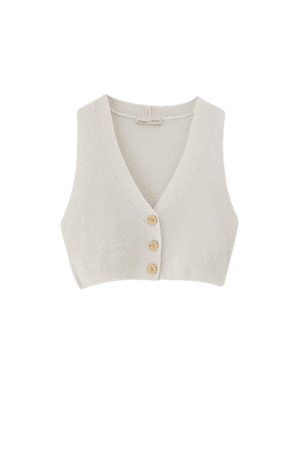 Cropped knit vest with buttons - pull&bear