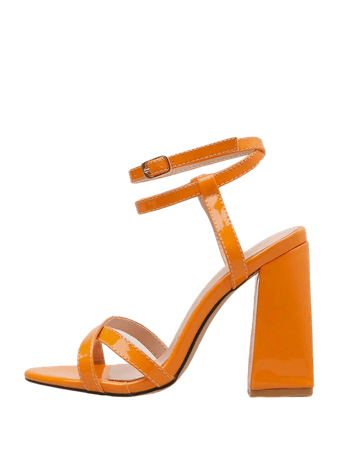 Patent Cross Strap Ankle Strap Chunky Heels | SHEIN USA