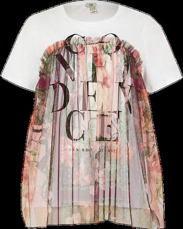 White short sleeve 'Confidence mesh t-shirt   River Island