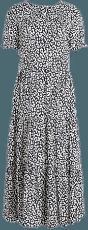 Puff-sleeve tiered midi dress