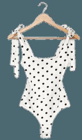 White Polka Dot Bodysuit - Tie-Strap Bodysuit - Square Neck Top - Lulus