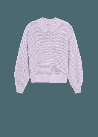 Embossed contrasting knit sweater - Women | Mango USA