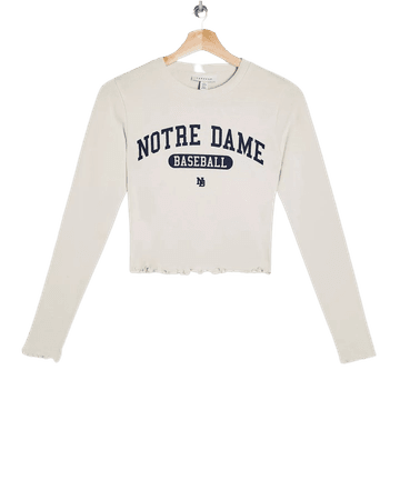 Notre Dame Long Sleeve T-Shirt in White | Topshop