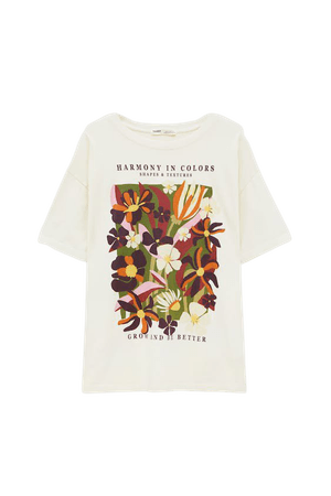 Floral graphic T-shirt - pull&bear