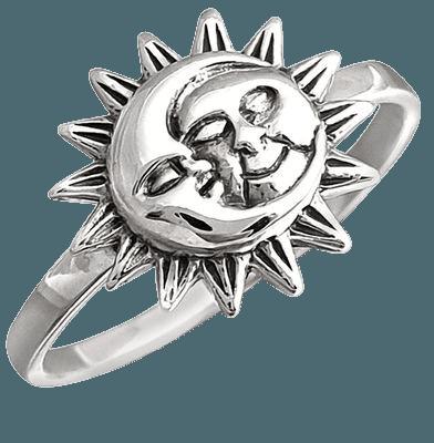 sun moon silver ring