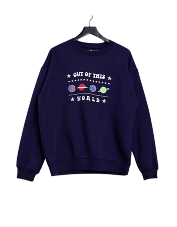 Daisy Street relaxed sweatshirt with 'Out of This World' print | ASOS