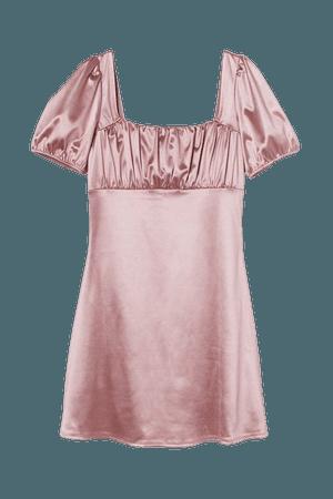 Puff-sleeved Dress - Light pink - Ladies   H&M US