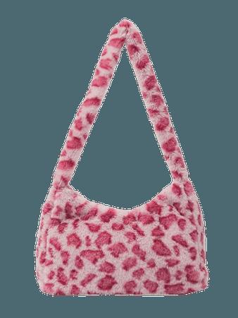 Fluffy Leopard Print Baguette Bag | SHEIN USA