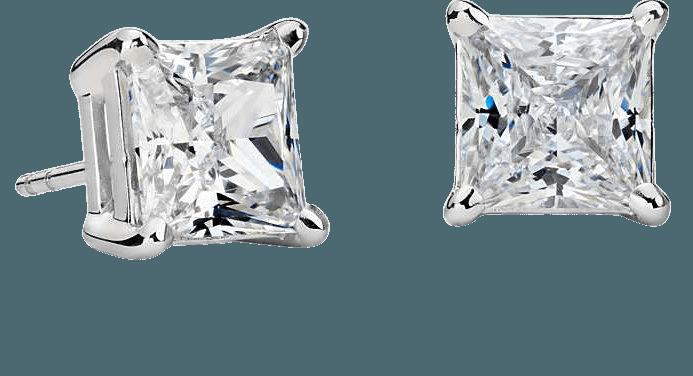 Princess-Cut Diamond Stud Earrings in Platinum (4 ct. tw.) | Blue Nile